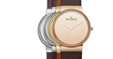 For ladies, Skagen Perspektiv introduces high-quality genuine leather straps in pebble gray, dark brown, camel and burgundy. A slim case design in polished silver, ion-plated gold or rose-gold features a 34mm case diameter and 7mm depth with reflective glass dials in silver, rose-gold and gold, lending an air of clean sophistication.