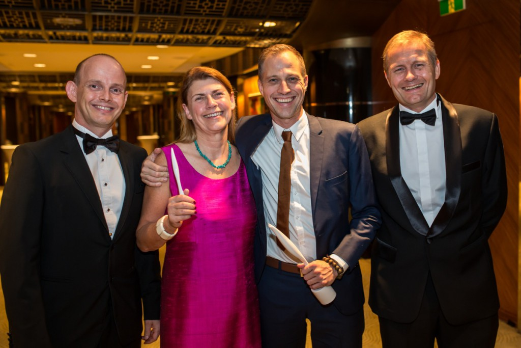 Chairman of DCCC-Shanghai Simon Lichtenberg (left) with Pia Ellers, Entrepreneur of the  Year Kasper Leschly and general consul Nicalai Prytz(right). Business person of the year Jens Eskelund were not able to make it to the party, but Grundfoss' Humphrey Lau revieved the award on his behalf. Photo: Rasmus Daniel Taun courtesy of DCCC.